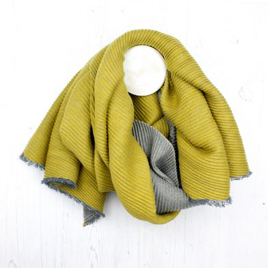 POM Grey Mustard Pleated Scarf - ACCESSORIES