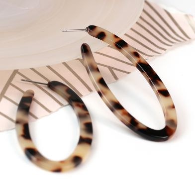 Large Oval Tortoise Shell Hoops