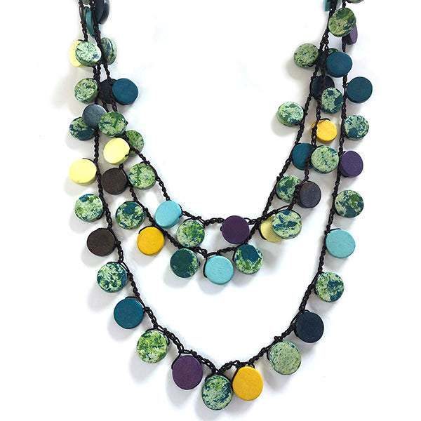 One Button Triple Row Asymetric Blue Mix Disc Necklace JWR