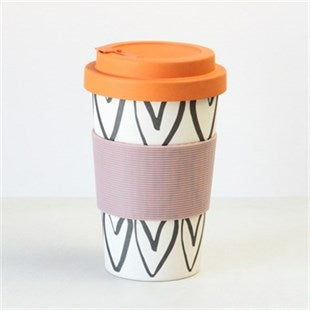 Hearts Outline Bamboo Coffee Cup