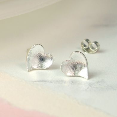 Silver Concave Heart Stud Earrings