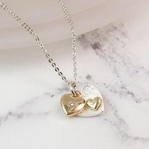 POM Double Heart Necklace in Silver/Gold - JWR