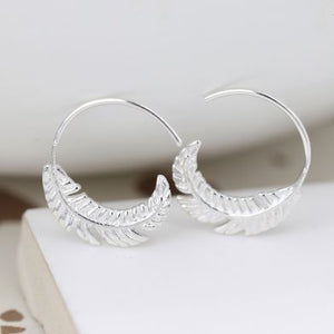 POM Sterling Silver Feather Hoop Earring - JWR