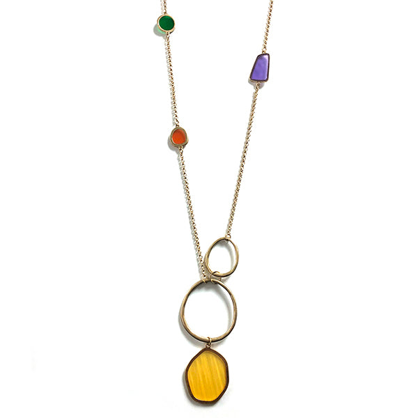 One Button Asymetic Coloured Shapes on Gold Necklace JWR