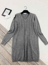 Load image into Gallery viewer, V Neck Tunic Jumper with Scarf
