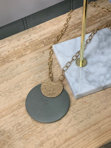 Long Necklace with Grey and Gold Disc - JWR