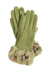 Hot Tomato Faux Suede Gloves with Leopard Fur Trim - ACCESSORIES