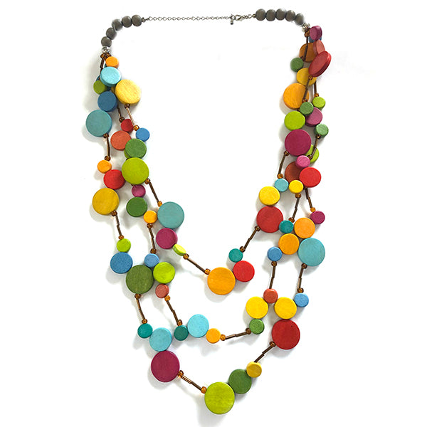 One Button Multi Row Rainbow Mini Beads Necklace JWR