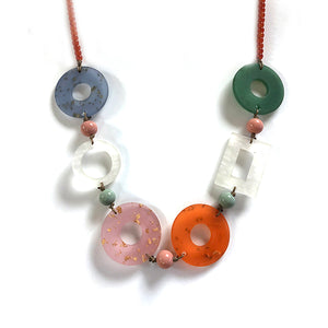 One Button Bright Pastel Retro Hoops Necklace JWR