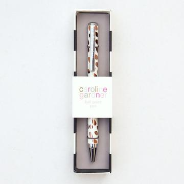 Caroline Gardner Rose Gold Metallic Doty Boxed Pen - STATIONERY