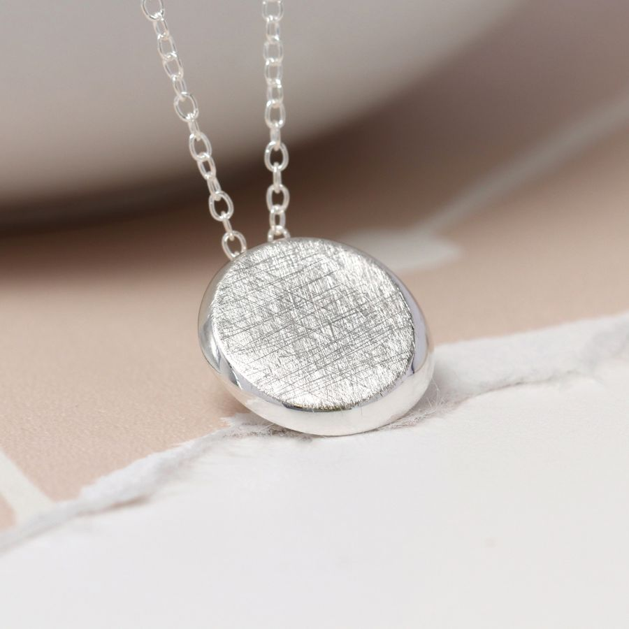 POM Silver Scratched Disc Necklace JWR