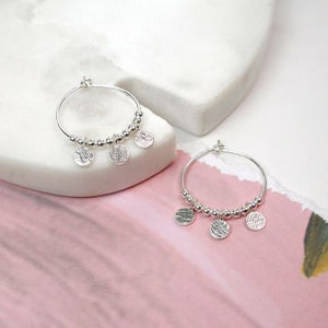 POM Silver Hoops with Round Discs - JWR