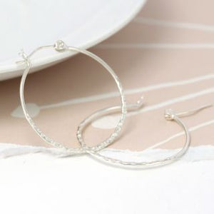 POM Silver Large Hammered Hoop with Band - JWR