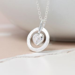 POM Heart in Circle Siilver Necklace JWR