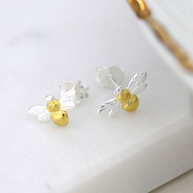 Two Tone Tiny Bee Earrings