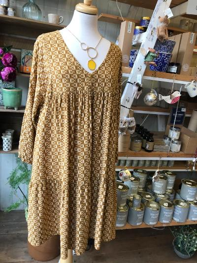 Patterned Smock Dress - Clothing