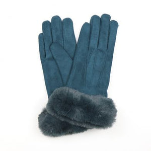 POM Faux Suede Gloves with Faux Fur Trim - ACCESSORIES