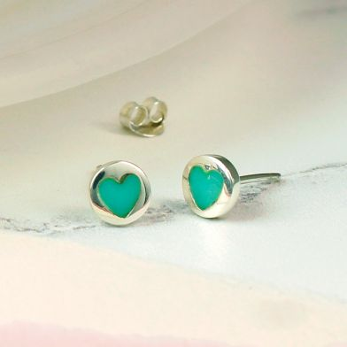 Silver Turquoise Heart Inset Stud Earrings