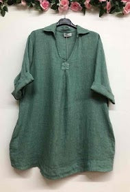V Neck Tunic Top with Collar