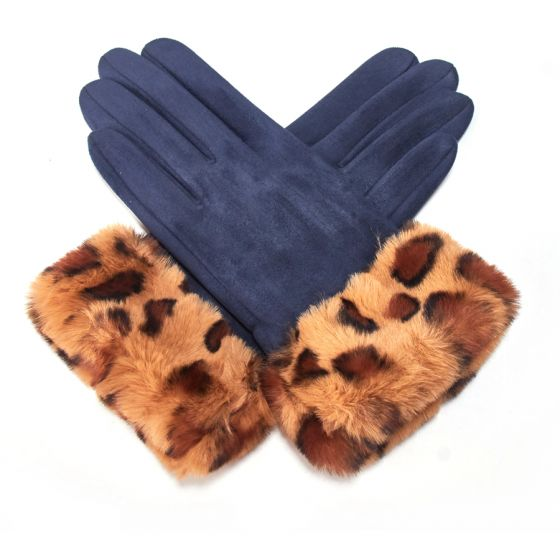 Faux Suede with Leopard Trim Gloves