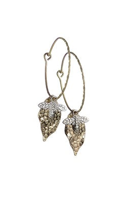 Leaf Drop with Crystal Earrings - JWR