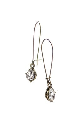 Teardrop on Elongated Hook Earrings