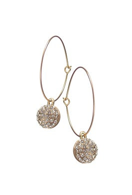 Galaxy Sphere on Wire Hoop Earrings - JWR