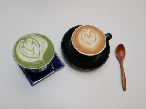 coffee next to matcha tea