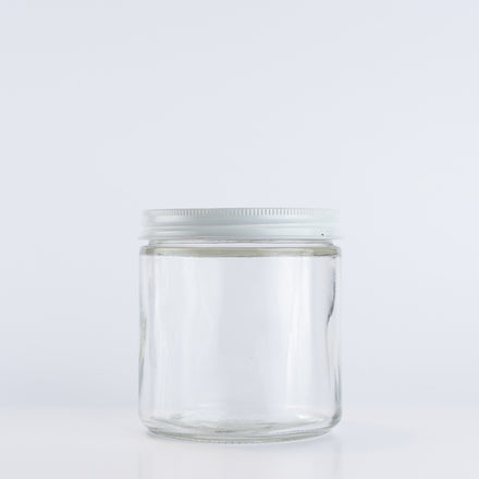 Straight-Sided Glass Jar, 16 oz