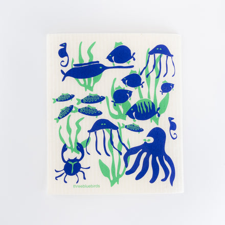 Sea Life Swedish Dishcloth