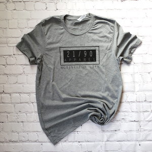 grey unisex triblend t shirt with 21/90 apparel logo in black