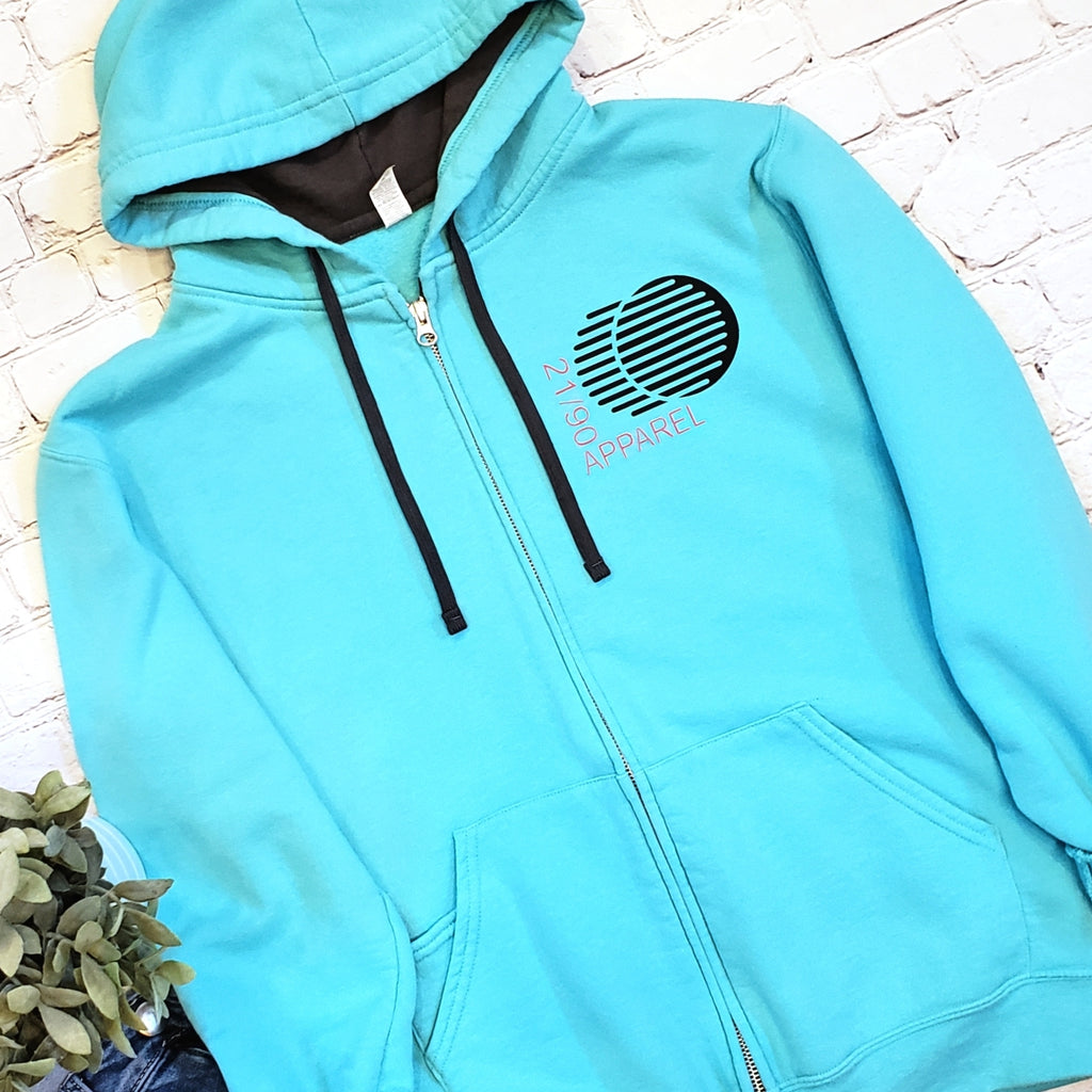 Zip-Up Movement Hoodie - Aqua