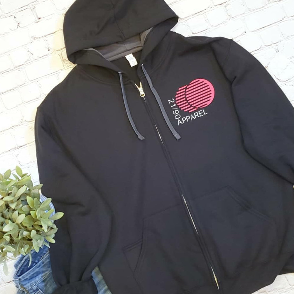 Zip-Up Movement Hoodie - Black