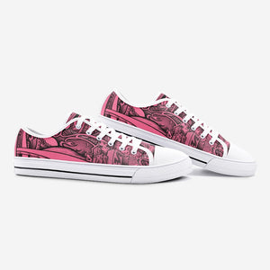 """City Bridge"" by Zelley – Pink Low Top Canvas (Men/Women)"