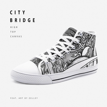 "Load image into Gallery viewer, ""City Bridge"" by Zelley – High Top Canvas (Men/Women)"