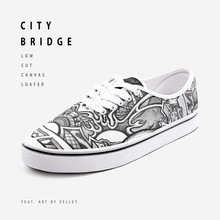"Load image into Gallery viewer, ""City Bridge"" by Zelley – Low Cut Canvas Loafer (Men/Women)"
