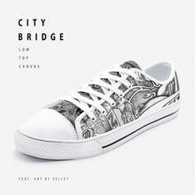 "Load image into Gallery viewer, ""City Bridge"" by Zelley – Low Top Canvas (Men/Women)"