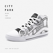 "Load image into Gallery viewer, ""City Park"" by Zelley – High Top Canvas (Men/Women)"