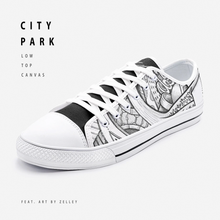 "Load image into Gallery viewer, ""City Park"" by Zelley – Low Top Canvas (Men/Women)"