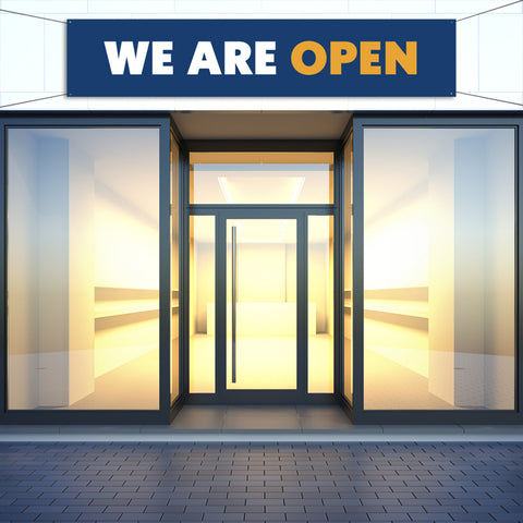 """We Are Open"" Outdoor Banner"