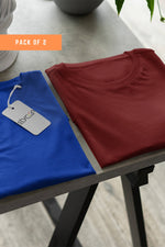 ( Maroon+ Blue) Bio Wash Cotton Half Sleeve Round Neck Plain Unisex T-shirt (pack of 2) - Stycon