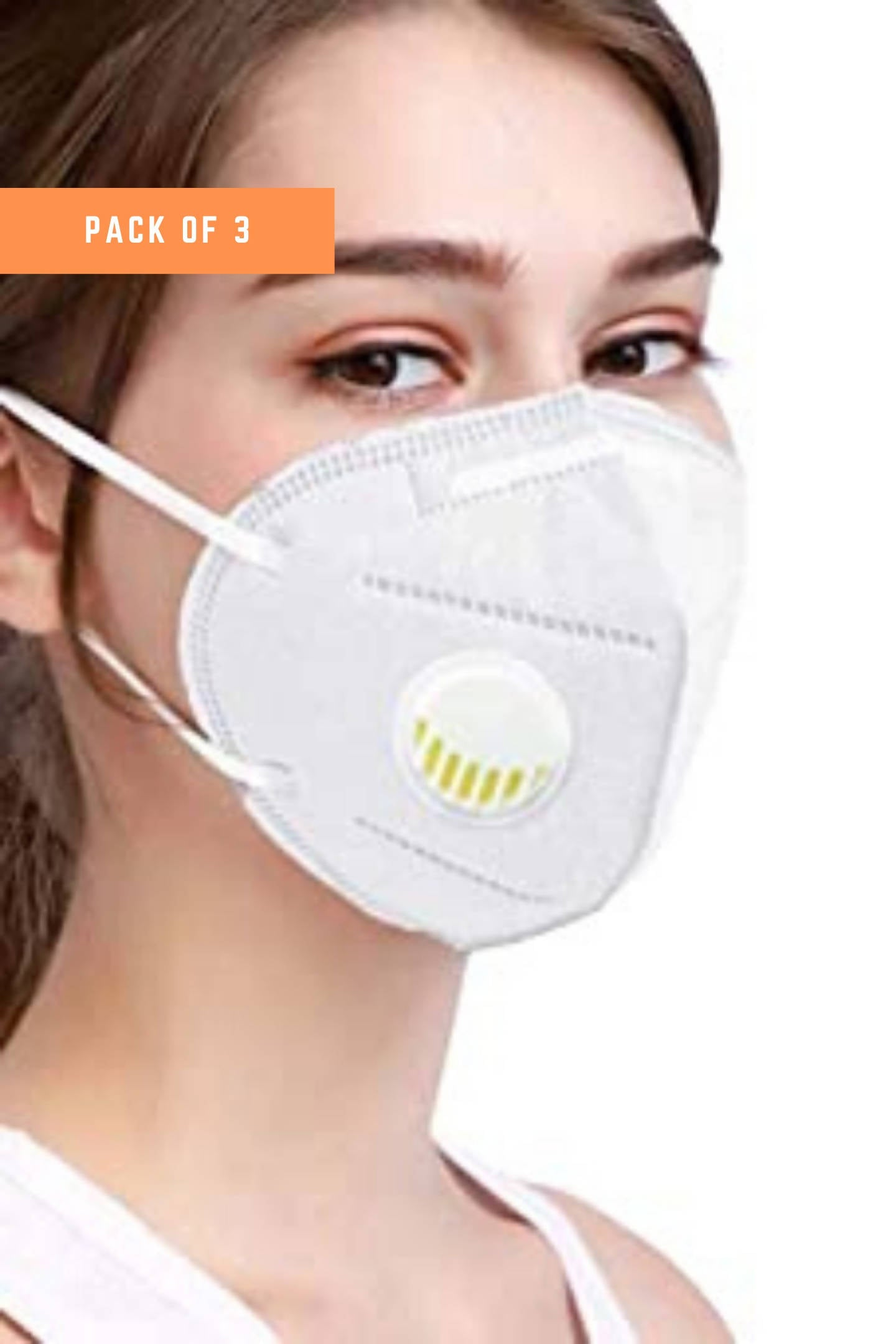 KN95 Mask Respirator With 5 Ply Non-Woven Respirator With Melt Blown Fabric Layer (Pack of 3)