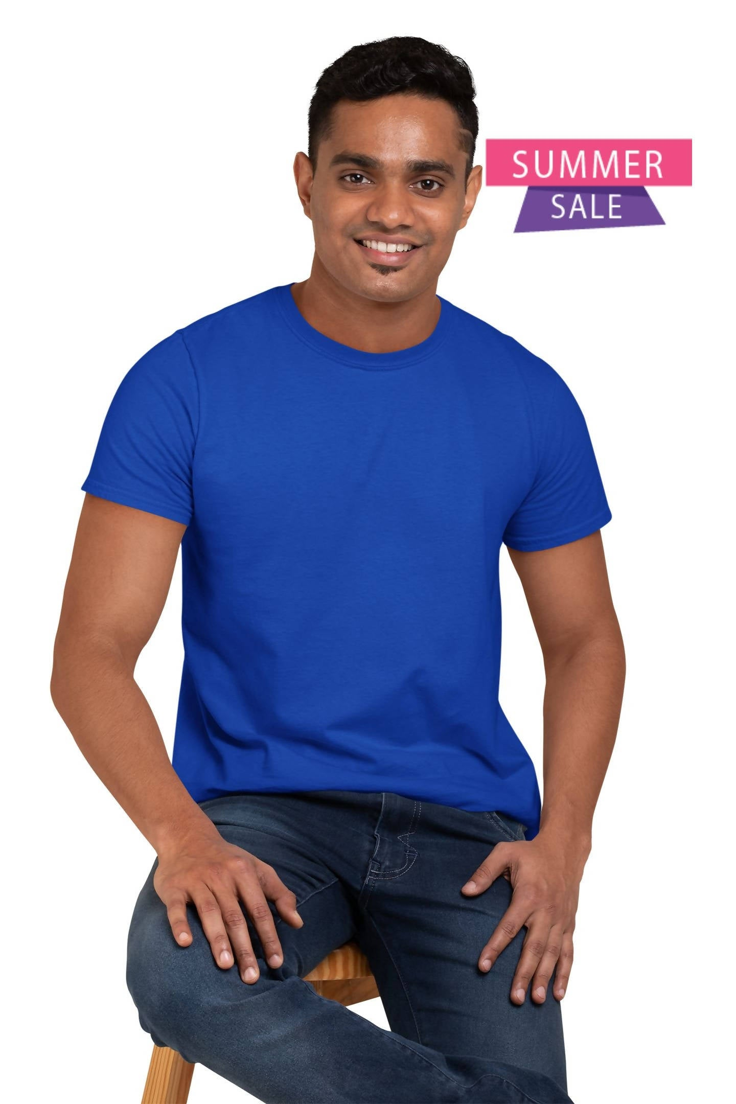 ( Blue ) Cotton Half Sleeve Round Neck Plane Unisex T-shirt