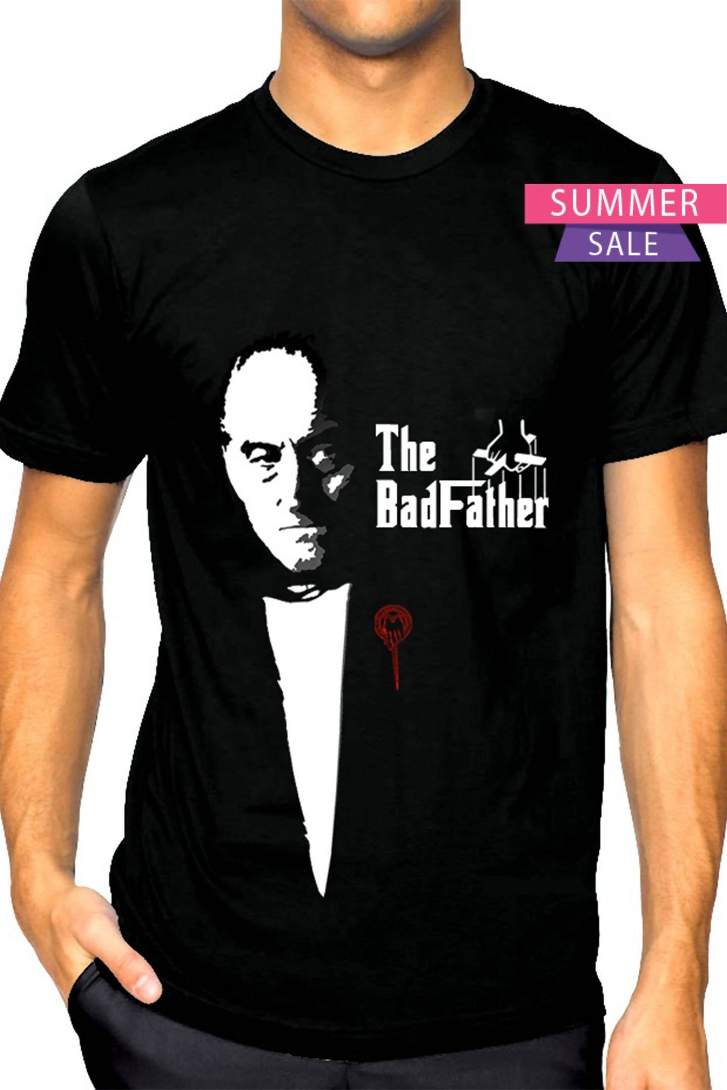 (Black)God Father  Half Sleeve Round Neck Printed Unisex T-shirt-Stycon