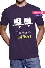 Happiness -Bio Wash Cotton Half Sleeve Round Neck Printed Unisex T-shirt - Stycon