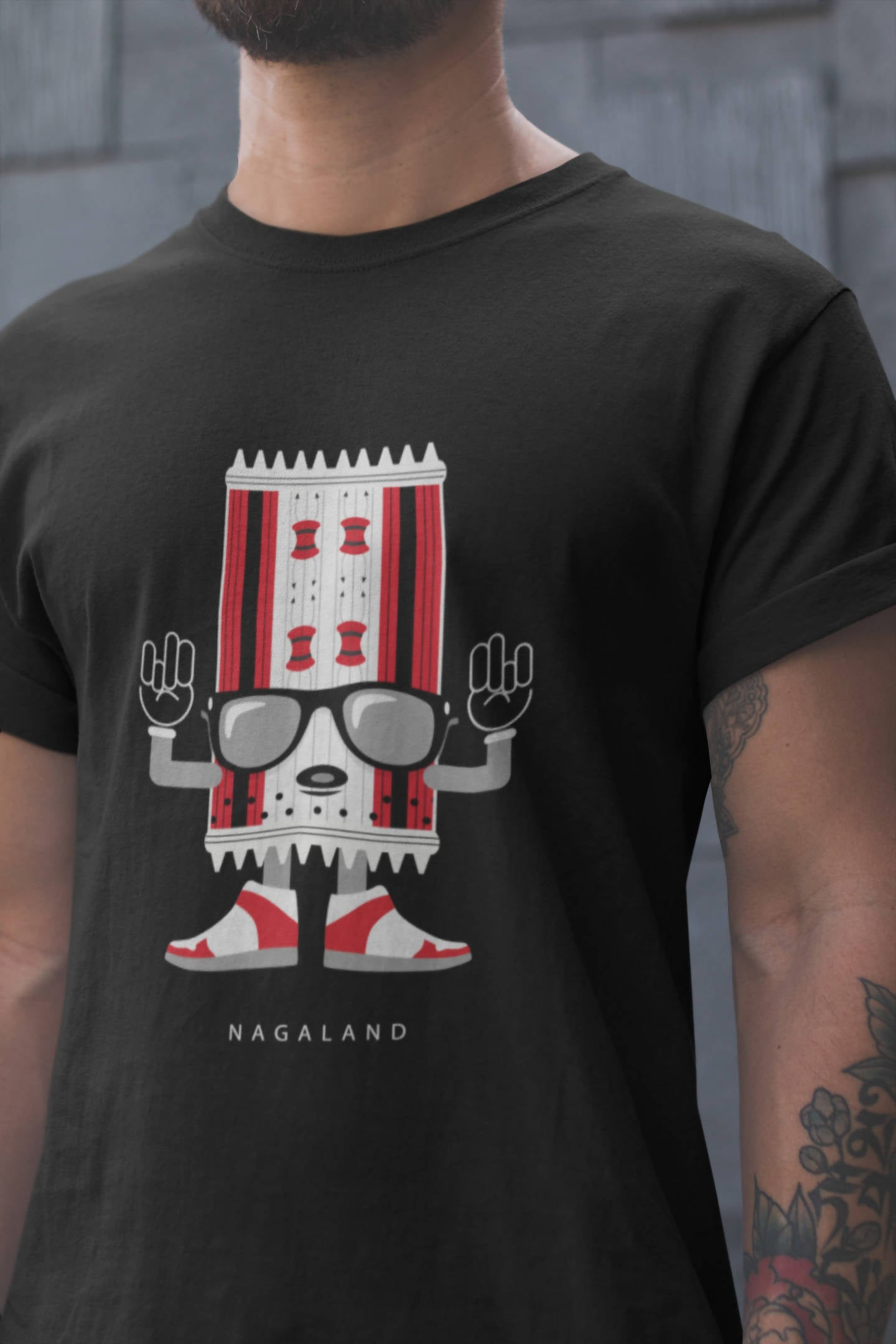 Nagaland - North East - Black Round Neck T-Shirt - Stycon