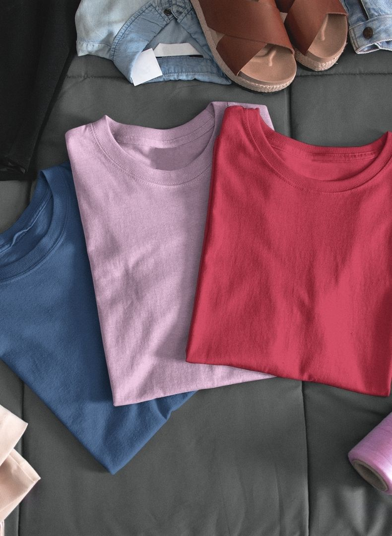 (Pink + Red + Galaxy Blue) Plain Body Fitting T-shirt(Pack of 3)-Stycon