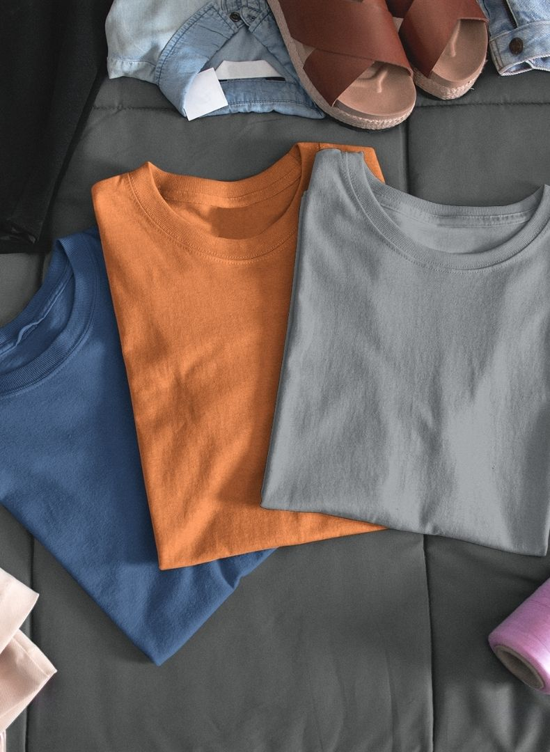 (Grey+Orange+Galaxy Blue ) Plain Body Fitting T-shirt(Pack of 3)-Stycon