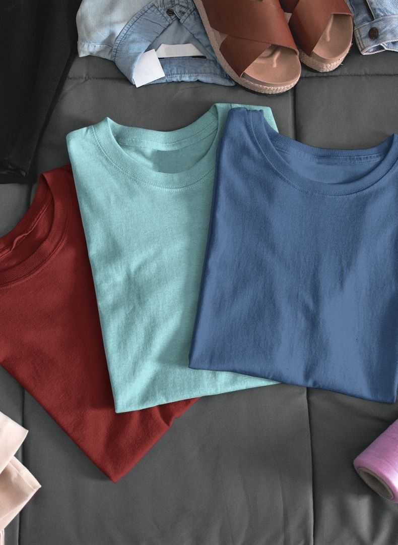 (Maroon+Island Blue+Galaxy Blue) Plain Body Fitting T-shirt (Pack of 3)-Stycon