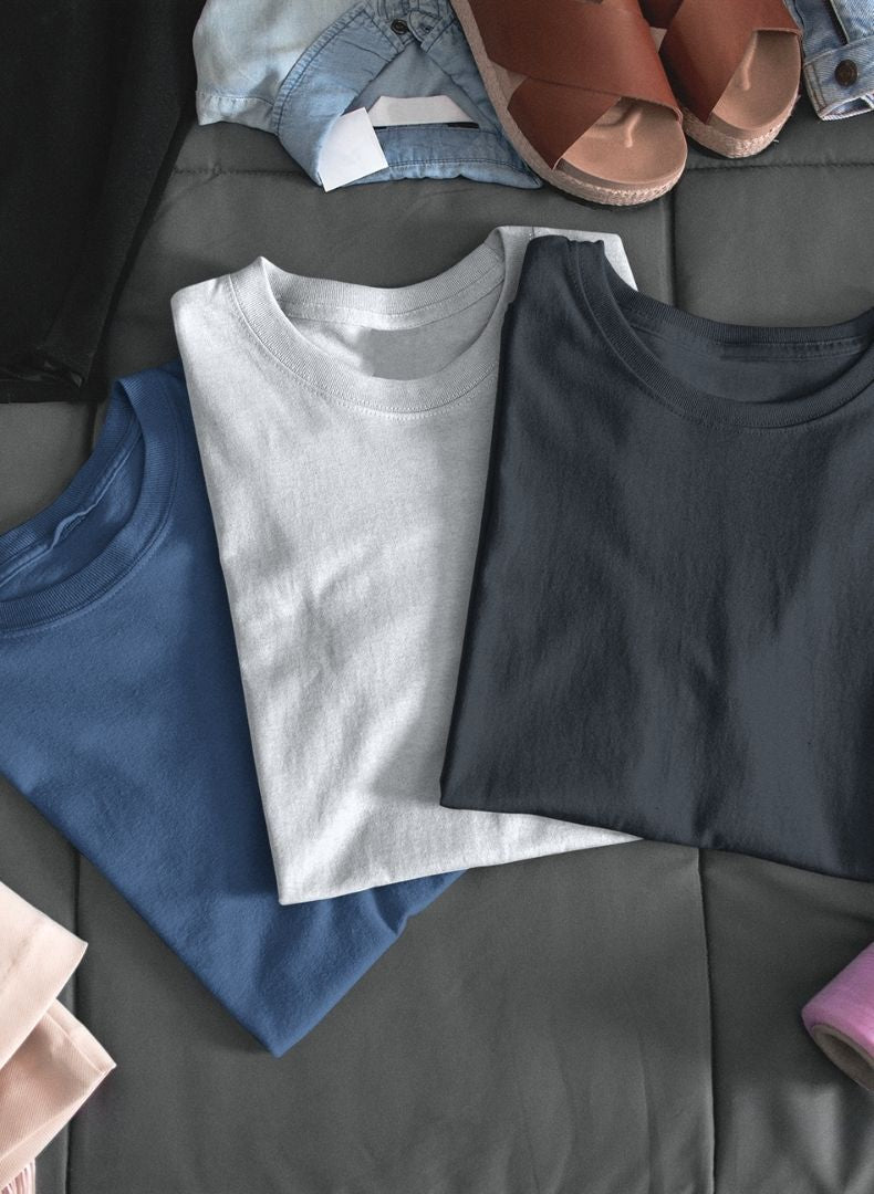 (Black+White+Galaxy Blue) Body Fitting Plain T-shirt (Pack of 3)-Stycon